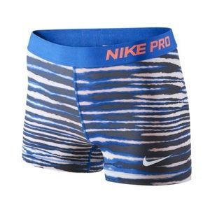 Nike Pro Royal Blue Zebra Stripe Shorts